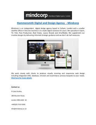 Hammersmith Digital and Design Agency  - Mindcorp