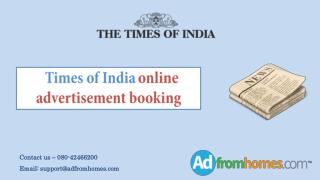 Times of India online advertisement booking