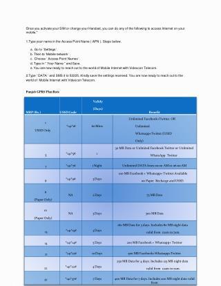 GPRS Plan Rate Prepaid Mobile