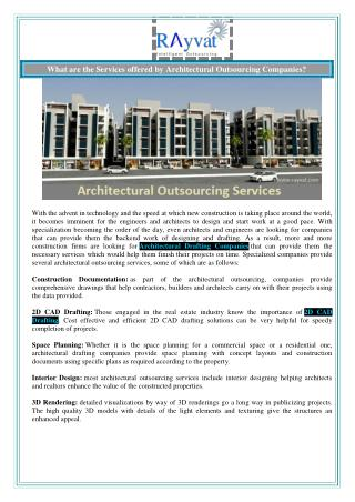 What are the Services offered by Architectural Outsourcing Companies?