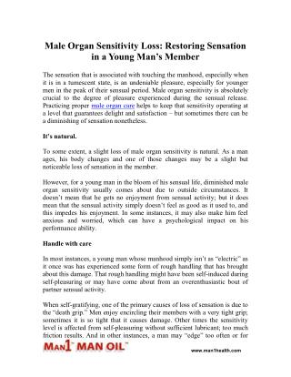 Male Organ Sensitivity Loss: Restoring Sensation in a Young Man's Member