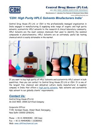 High Purity HPLC Solvents Manufacturers India