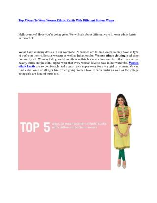 Top 5 Ways To Wear Women Ethnic Kurtis With Different Bottom Wears