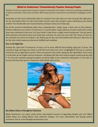 Bikini as Swimwear: Tremendously Popular Among People