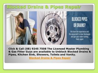 Blocked Drains & Pipes Repair