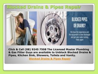 Blocked Drains & Pipes Repair
