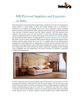 MR Plywood Suppliers and Exporters in India