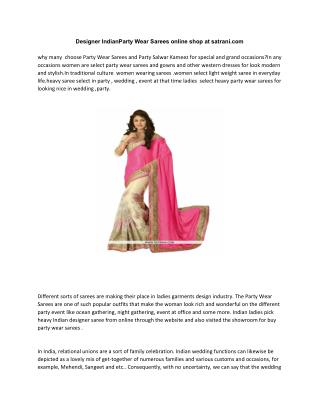 Designer Indian Party Wear Sarees online shop at satrani.com