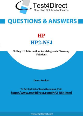HP2-N54 HP ExpertONE Real Exam Questions