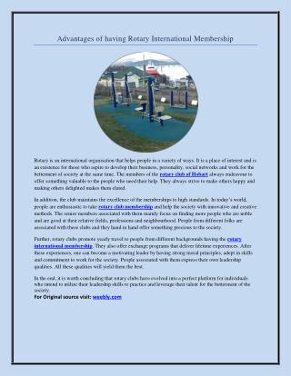 Advantages of having Rotary International Membership