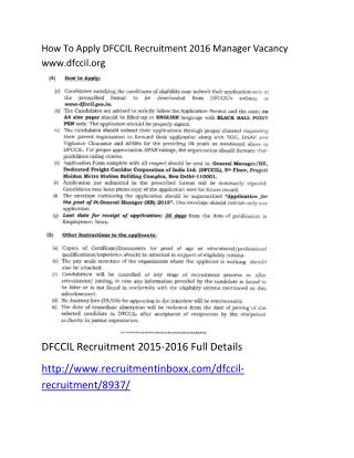 How to Apply DFCCIL Recruitment 2016 Manager Vacancy Www.dfccil.org