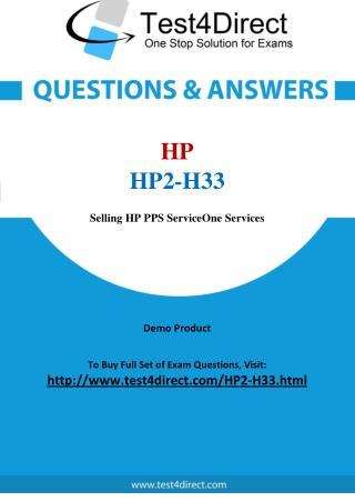 HP HP2-H33 Exam Questions