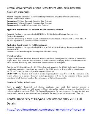 Central University of Haryana Recruitment 2015-2016 Research Assistant Vacancies