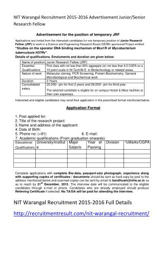 NIT Warangal Recruitment 2015-2016 Advertisement Junior-Senior Research Fellow