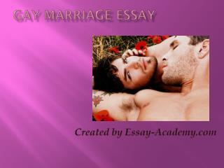 Gay Marriage Essay