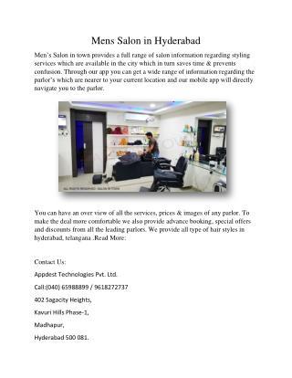 Mens salon in hyderabad