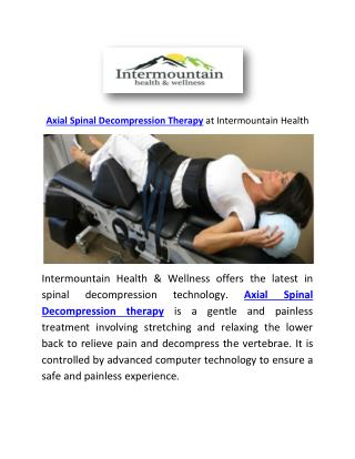 Axial Spinal Decompression Therapy at Intermountain Health