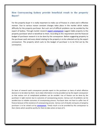 How Conveyancing Sydney provide beneficial result to the property Buyer?