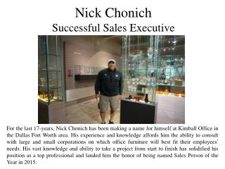 Nick Chonich Successful Sales Executive