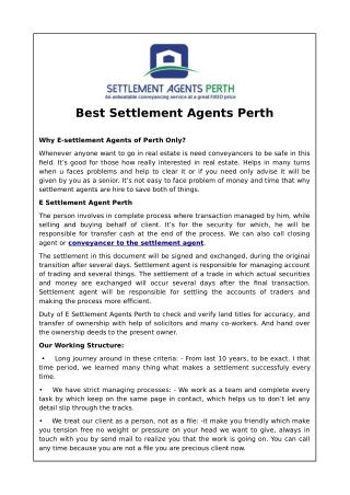Best Settlement Agents Perth