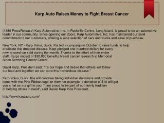 Karp Auto Raises Money to Fight Breast Cancer