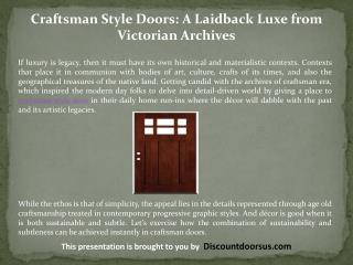 Craftsman Style Doors: A Laidback Luxe from Victorian Archives
