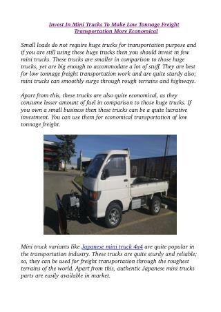 Invest In Mini Trucks To Make Low Tonnage Freight Transportation More Economical