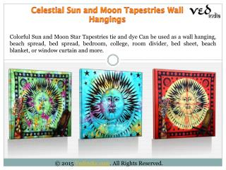 Psychedelic Sun Moon Stars Tie Dye Tapestry Throw Bedspread