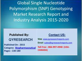 Global Single Nucleotide Polymorphism (SNP) Genotyping Market 2015 Industry Study, Trends, Development, Growth, Overview