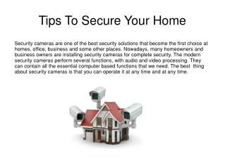 Tips To Secure Your Home
