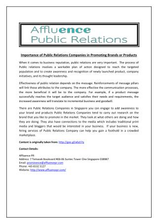 Importance of Public Relations Companies in Promoting Brands or Products