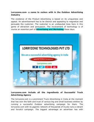 Lorryzone.com- a name to reckon with in the Outdoor Advertising Industry