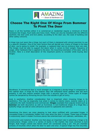 Choose The Right One Of Hinge From Bommer To Pivot The Door