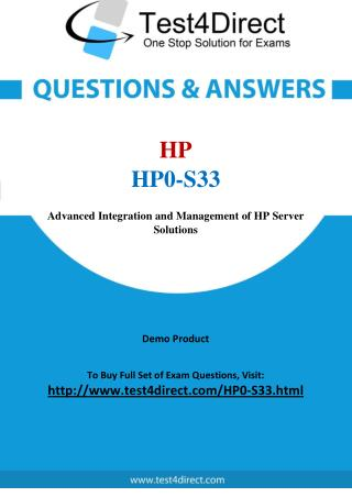 HP0-S33 HP ASE Real Exam Questions