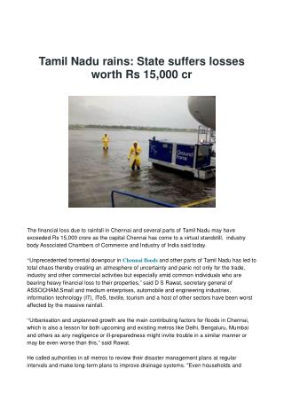 Tamil Nadu rains: State suffers losses worth Rs 15,000 cr