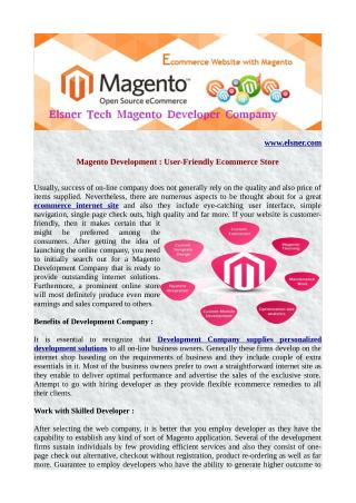 Magento Development : User-Friendly Ecommerce Store
