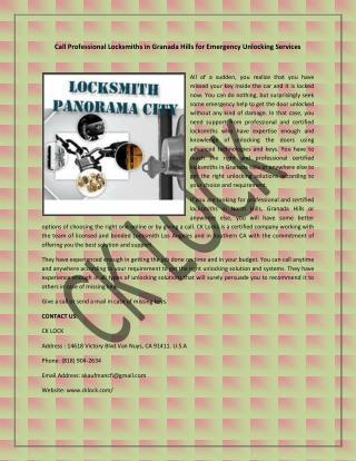 Call Professional Locksmiths in Granada Hills for Emergency Unlocking Services