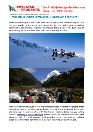 Trekking in Indian Himalayas- Himalayan Frontiers