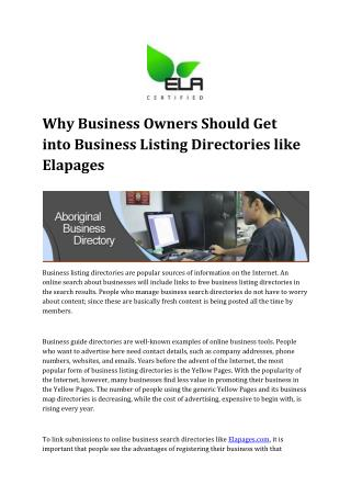 Need for listing into Business Listing Directories like Elapages