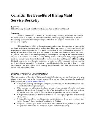 Consider the Benefits of Hiring Maid Service Berkeley