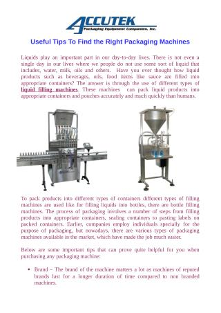 Useful Tips To Find the Right Packaging Machines
