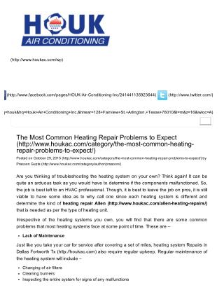 The Most Common Heating Repair Problems to Expect