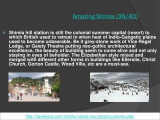 Amazing Shimla 02 Nights / 03 Days