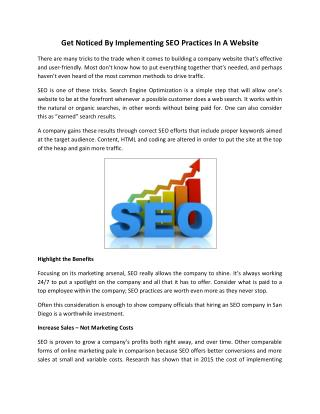 Get Noticed By Implementing SEO Practices In A Website