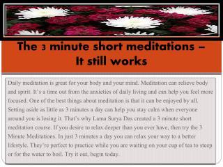 The 3 minute short meditations – It still works