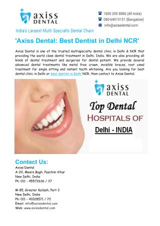 Best Dentist in Delhi NCR - Axiss Dental