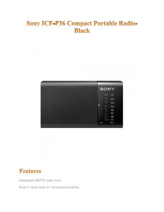 Sony ICF-P36 Compact Portable Radio-Black