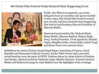 8th Global Film Festival Noida Declared Most Happening Event