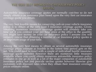 The very best Method to Car Insurance policy