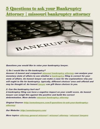 5 Questions to ask your Bankruptcy Attorney | missouri bankruptcy attorney